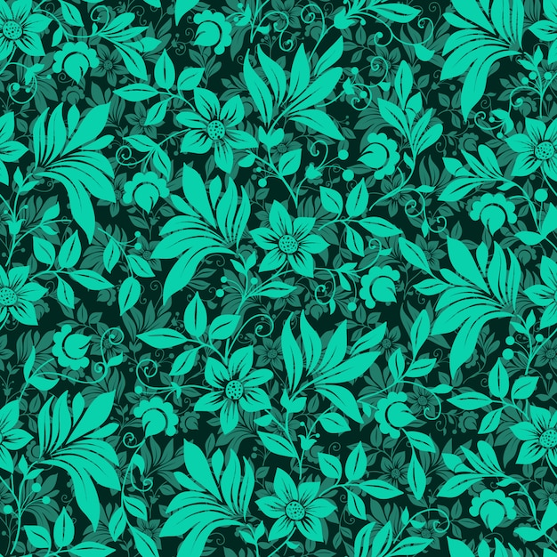 Green Flowers Pattern Background Vector Free Download Adorable Green Pattern Background