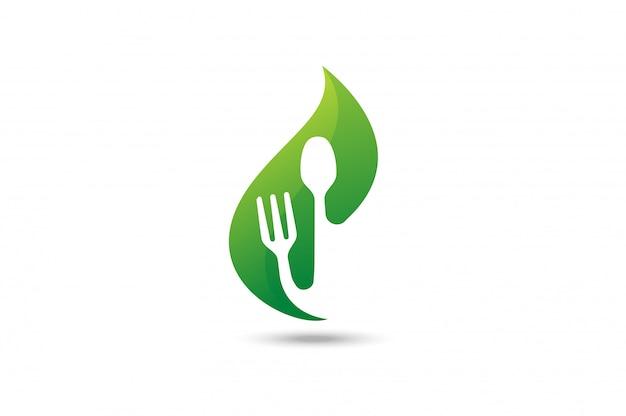 Green food logo. Premium Vector