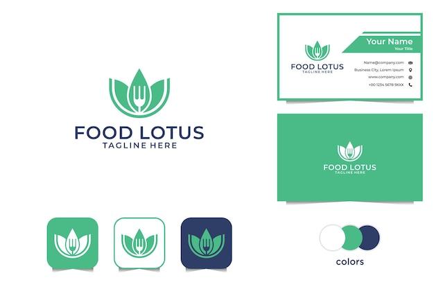 緑の食べ物の蓮のロゴと名刺 Premiumベクター