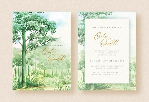 Premium Vector Green Forest And Mountain Watercolor Landscape Background On Wedding Invitation Template