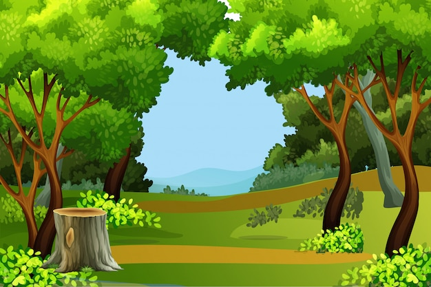 Imagem Vetorial Gratis Mapa Pinos Illustrator Titular: Green Forest Scene Background Vector