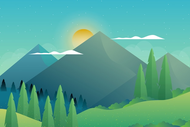Green forest with mountain landscape illustration Premium Vector