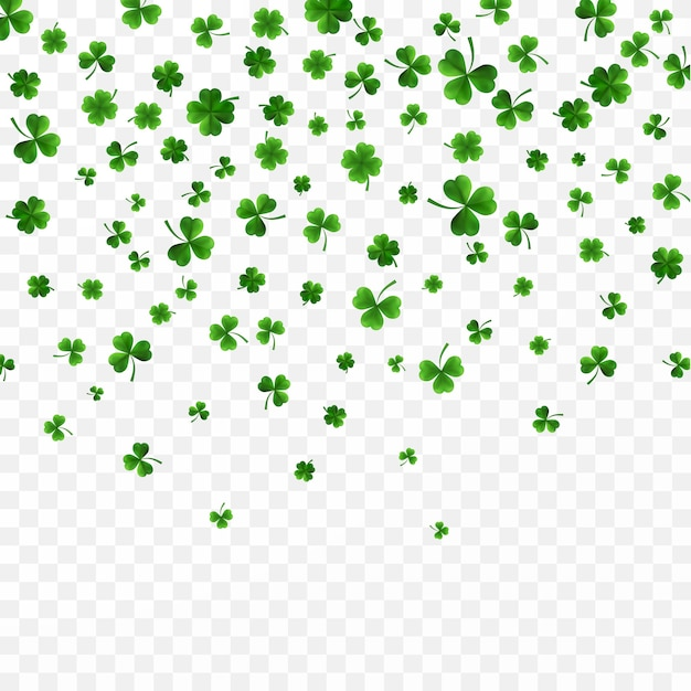 Green four and tree leaf clovers on transparent background Premium Vector