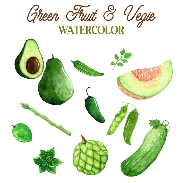 Зеленые фрукты и овощи акварельные иллюстрации Premium векторы