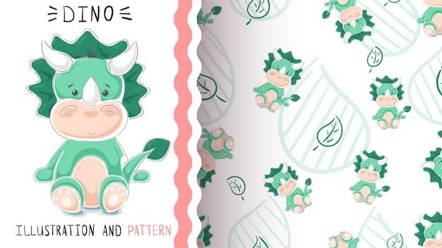 Green funny dino seamless pattern Premium Vector