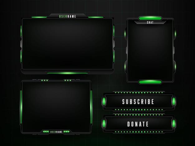 Modello di progettazione del set di pannelli di gioco verde Vettore gratuito
