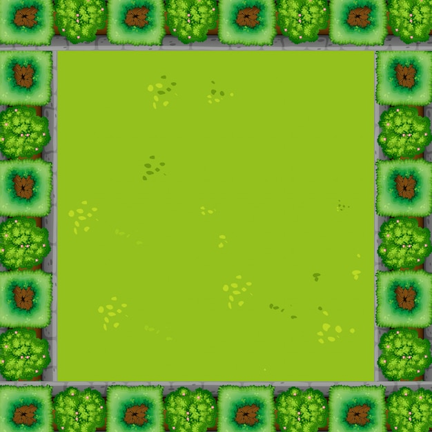 A green garden frame background with copyspace Free Vector