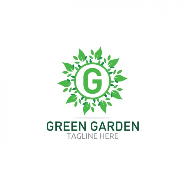 Free Vector   Green garden logo with leaves