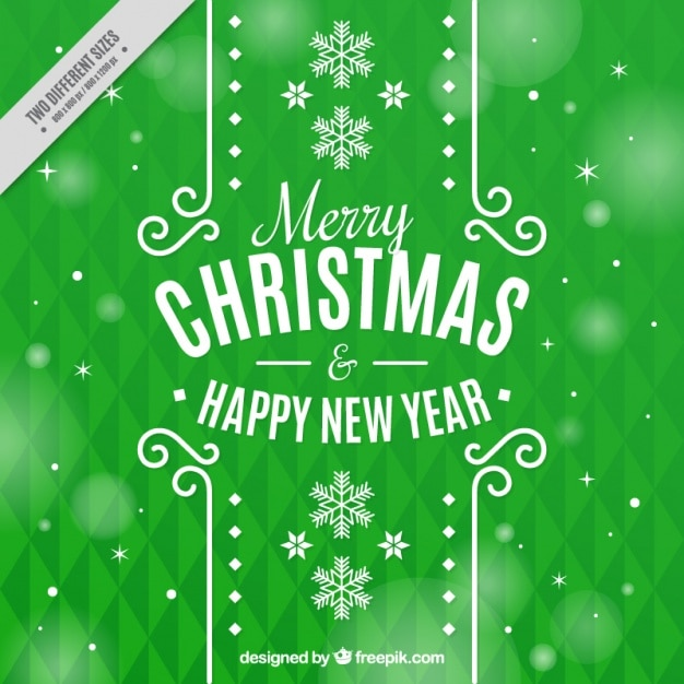 Green geometric background with snowflakes and bokeh effect Free Vector