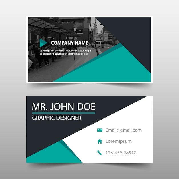 Green geometric corporate business card