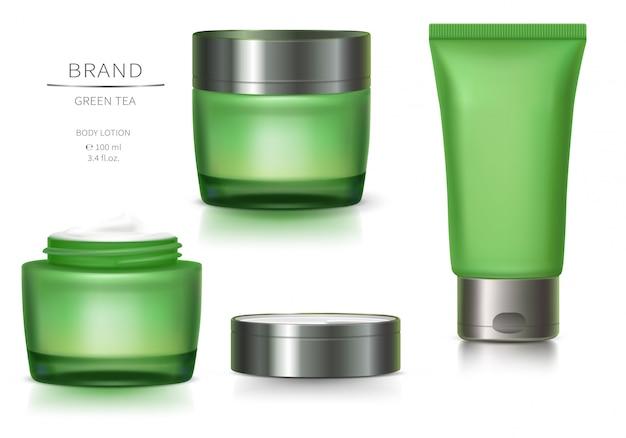 녹색 유리 용기 및 플라스틱 튜브 무료 벡터