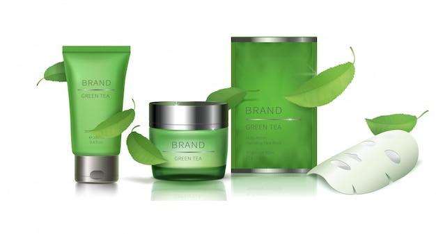 Green glass jar and facial sheet mask Free Vector