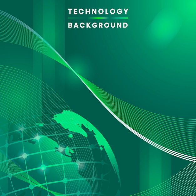 Green globe futuristic technology background vector Free Vector