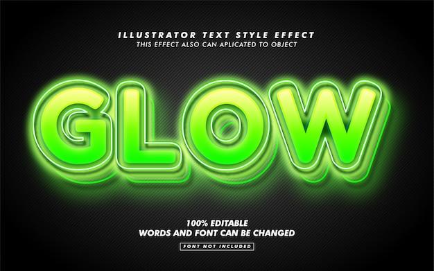 緑光るテキストスタイル効果モックアップ Premiumベクター