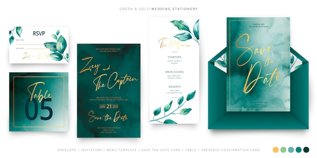 Green and gold wedding stationery template Free Vector