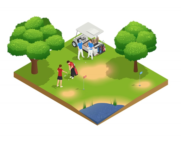 Green golf course isometric top view composition with people golfing and standing near cart Free Vector