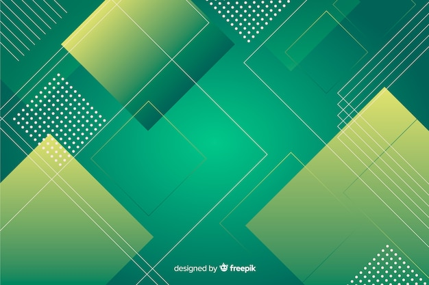 緑のグラデーションの色合いの幾何学的な背景 無料ベクター