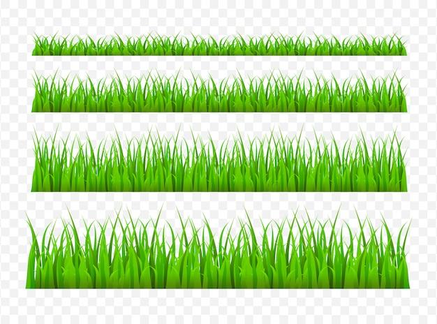 Green grass meadow border  pattern. grass background  illustration Premium Vector