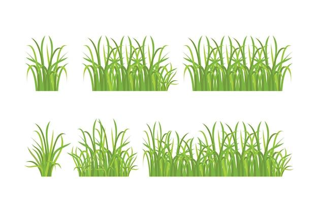 緑の草のパターンセット Premiumベクター