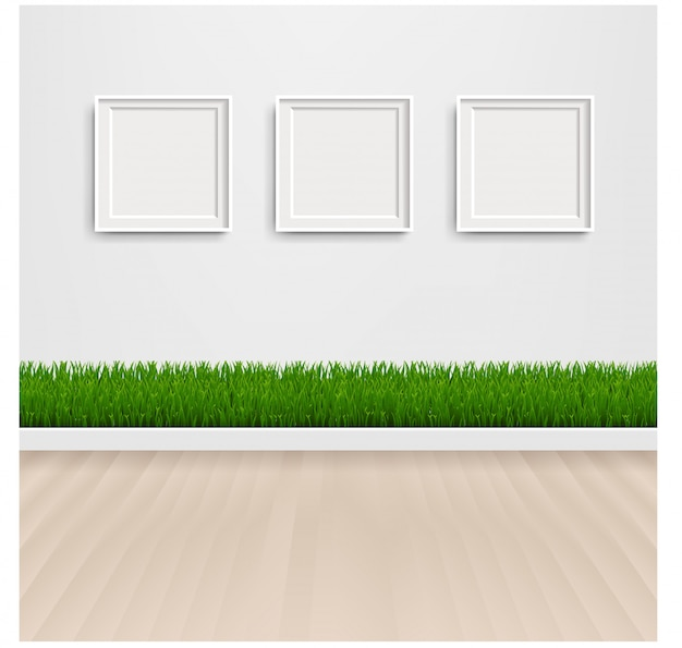 Green grass with and picture frame Premium Vector