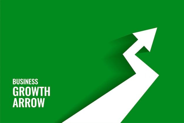 Green growth arrow showing upward trend background Free Vector