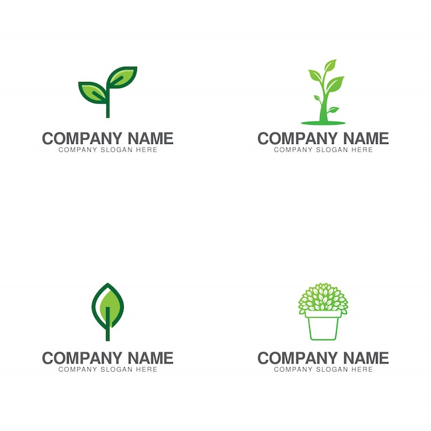 Green growth logo collection Premium Vector