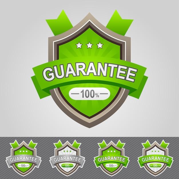 緑の保証シールドアイコンイラスト Premiumベクター