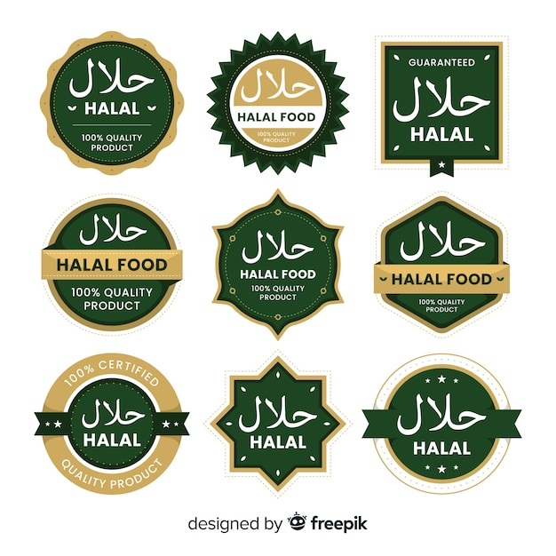 Green halal label collection with flat design Free Vector