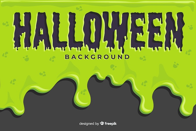 Green halloween background with flat design Free Vector