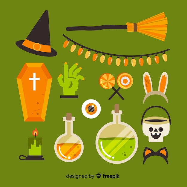 Green halloween element collection on flat design Free Vector
