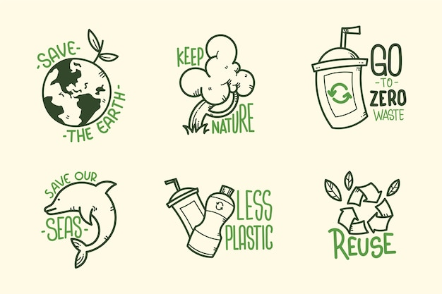 Green hand drawn ecology badges Free Vector
