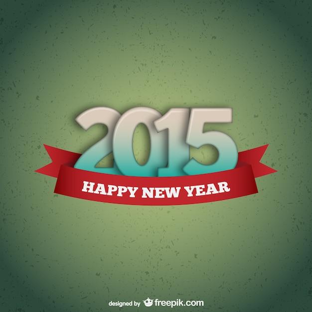 Green happy 2015 card Free Vector