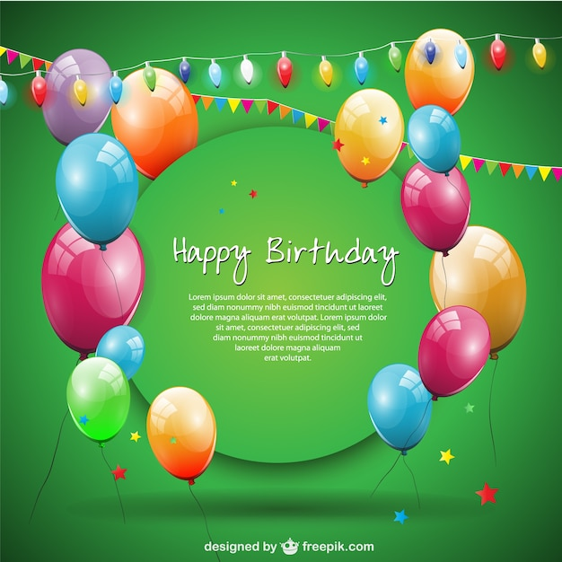 Green Happy Birthday Card With Balloons And Garlands Free Vector