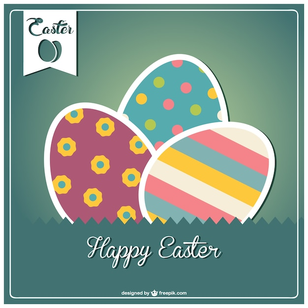 Green Happy Easter card with colorful eggs Free Vector