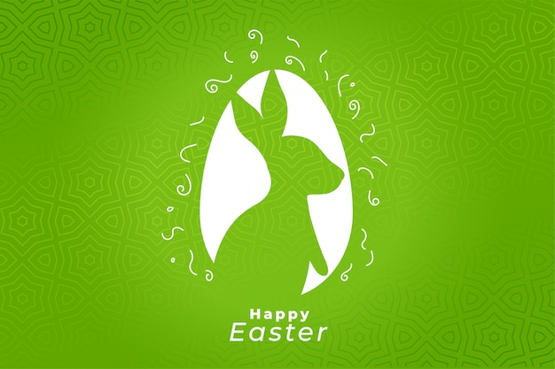 Green happy easter festival celebration card design Free Vector