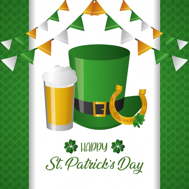 Green hat and beer greeting card Free Vector