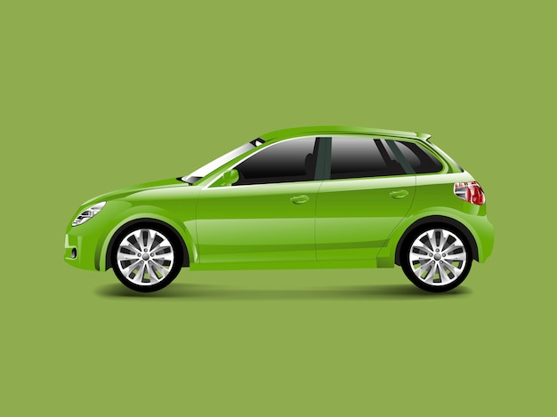 Green hatchback car in a green background vector Free Vector