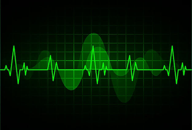 Green heart pulse monitor with signal. heart beat. ekg icon wave Premium Vector