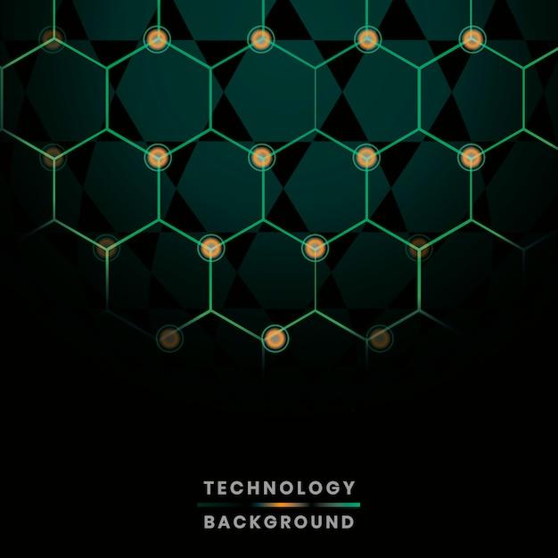 Green hexagon network technology background vector Free Vector