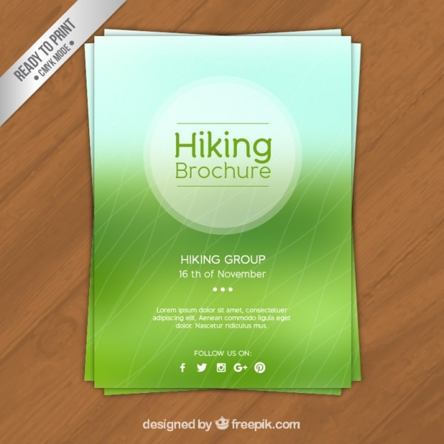 Green hiking brochure