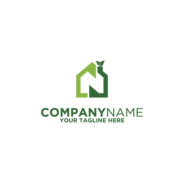 Green home logo Premium Vector