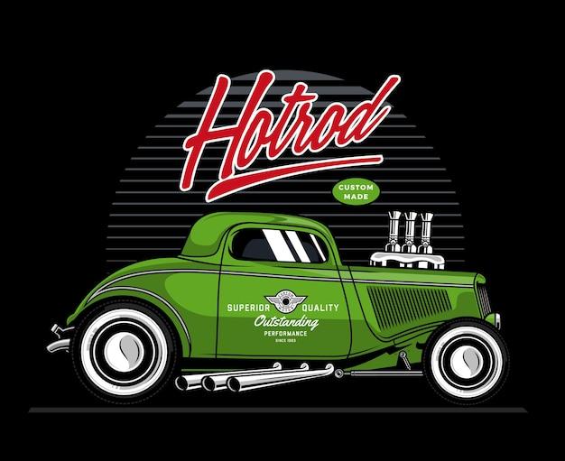 Green hotrod car illustration Premium Vector