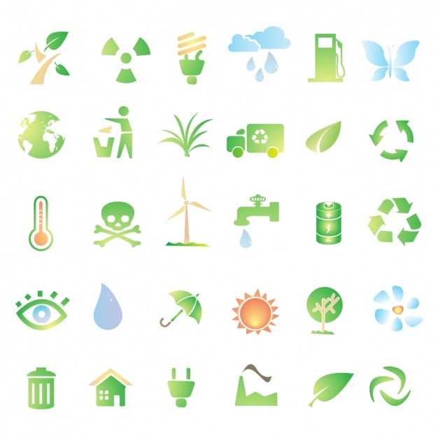 Green icons about recycling Free Vector