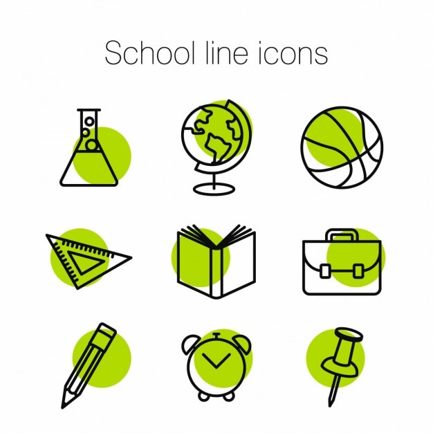 Green icons about school Free Vector