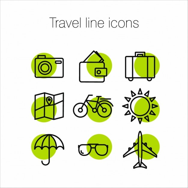 Green icons about travel Free Vector