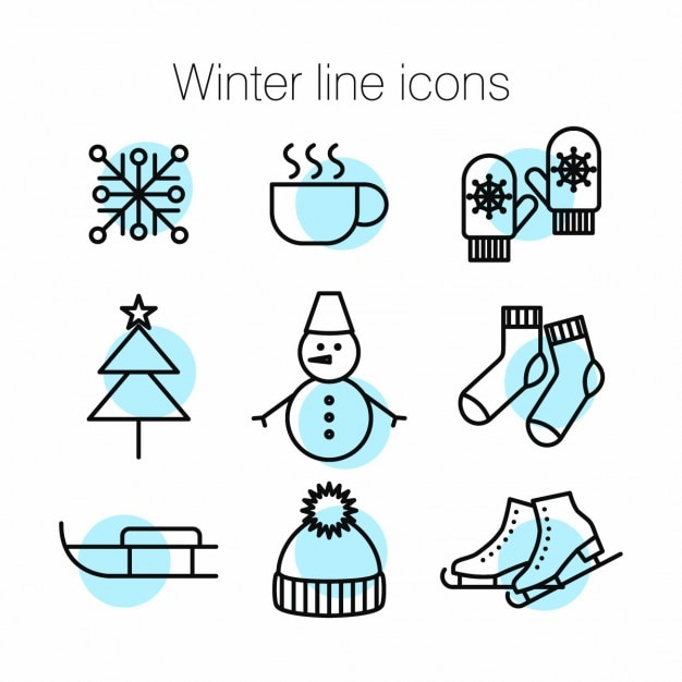 Green icons about winter Free Vector
