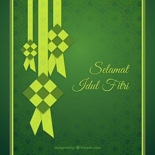 Green idul fitri background Free Vector