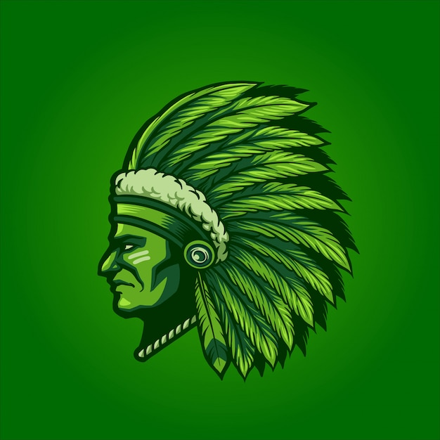 Green indian chief Premium Vector