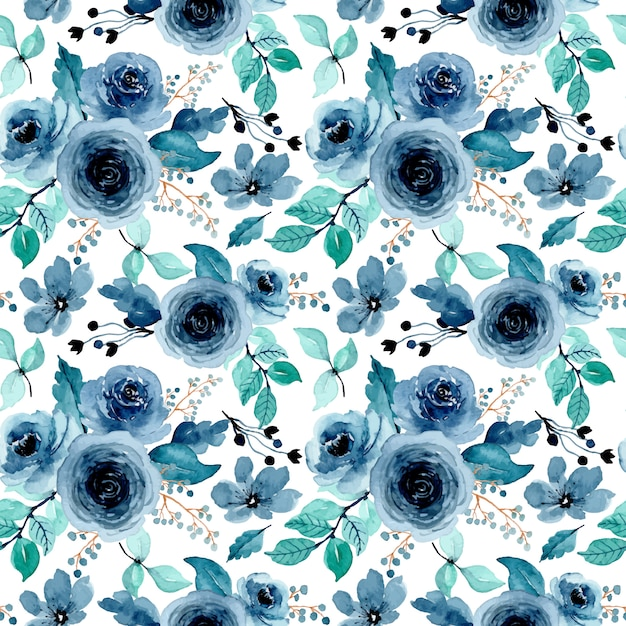Green indigo floral watercolor seamless pattern Premium Vector