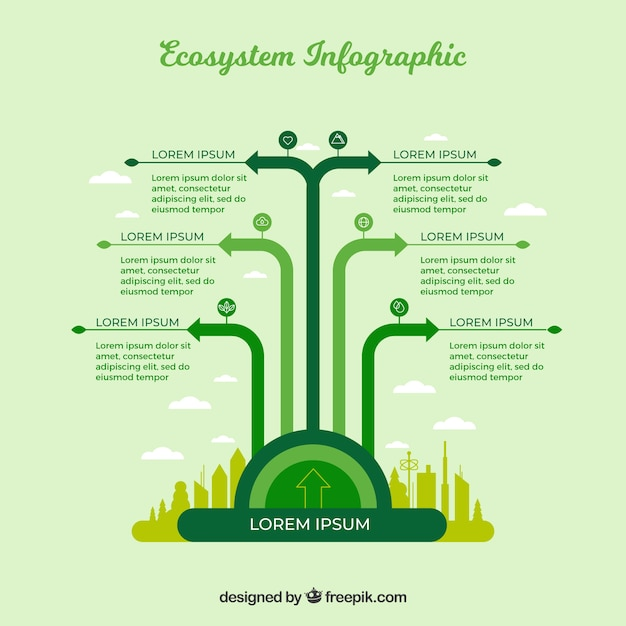 Green infographic ecosystem concept Free Vector